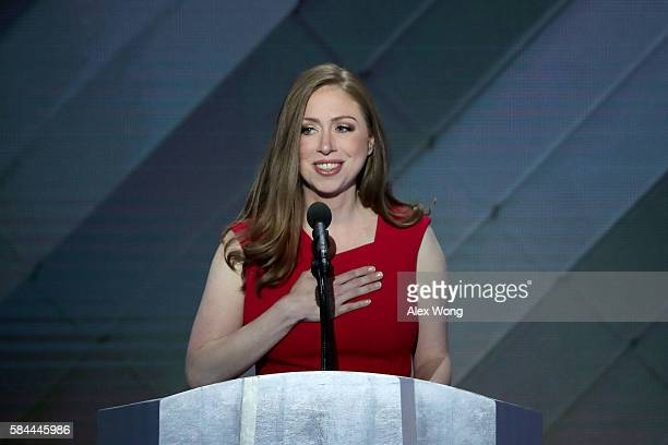 Chelsea Clinton introduces her mother Democratic presidential nominee Hillary Clinton on the fourth day of the Democratic National Convention at the...