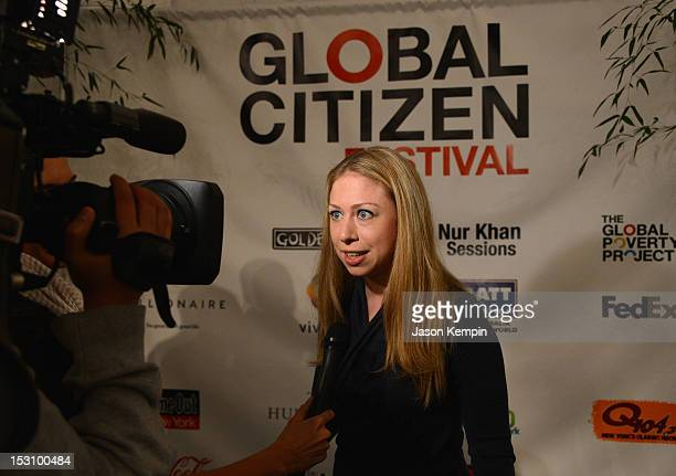 Chelsea Clinton is interviewed at the Global Citizen Festival in Central Park to end extreme poverty VIP Lounge at Central Park on September 29 2012...