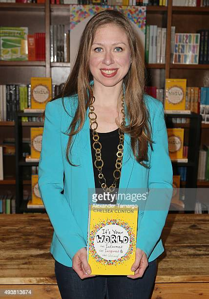 Chelsea Clinton is seen promoting her new book 'It's Your World Get Informed Get Inspired Get Going' at Books and Books on October 22 2015 in Coral...