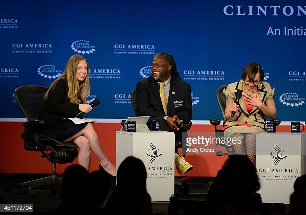 Chelsea Clinton left has a laugh with panelists Rashid Ferrod Davis founding principal Pathways in Technology Early College High School New York City...