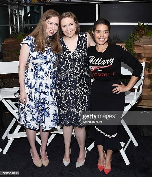 ]Chelsea Clinton Lena Dunham and America Ferrera the Glamour And Facebook Host Conversation With Cindi Leive Chelsea Clinton Lena Dunham America...