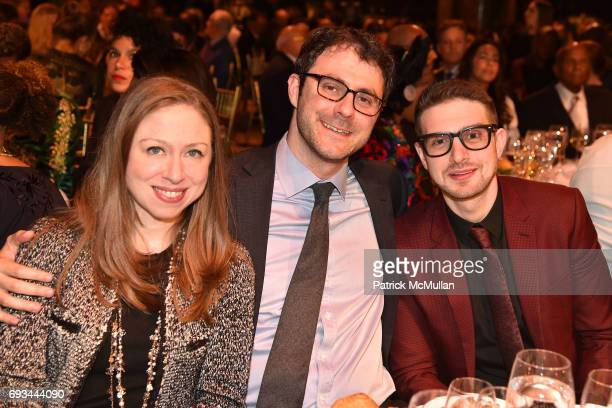 Chelsea Clinton Marc Mezvinsky and Alex Soros attend the Gordon Parks Foundation Awards Dinner Auction at Cipriani 42nd Street on June 6 2017 in New...