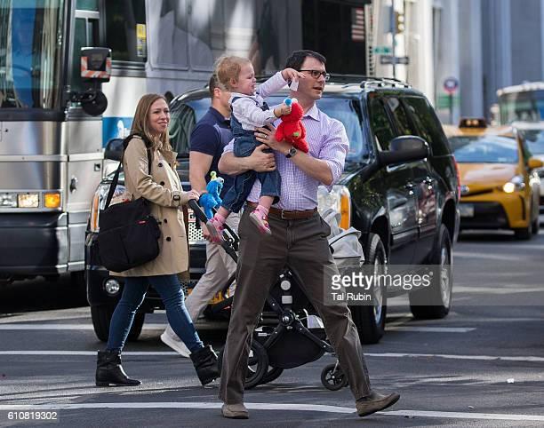 Chelsea Clinton Marc Mezvinsky and Charlotte Clinton Mezvinsky are seen on September 27 2016 in New York City