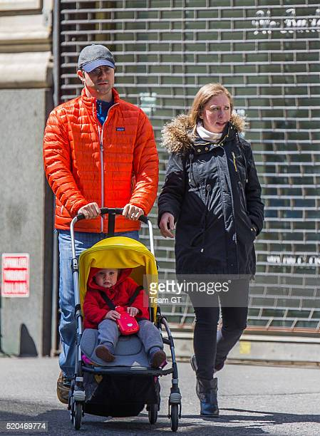 Chelsea Clinton Marc Mezvinsky and their daughter Charlotte are seen on April 11 2016 in New York City