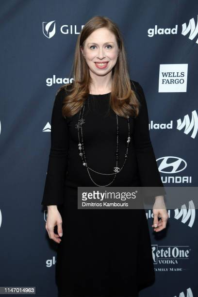 Chelsea Clinton poses backstage during the 30th Annual GLAAD Media Awards New York at New York Hilton Midtown on May 04 2019 in New York City