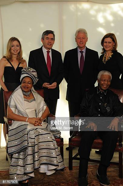 Chelsea Clinton Prime Minister Gordon Brown Bill Clinton Sarah Brown Graca Machel and Nelson Mandela and attend the dinner in honour of Nelson...