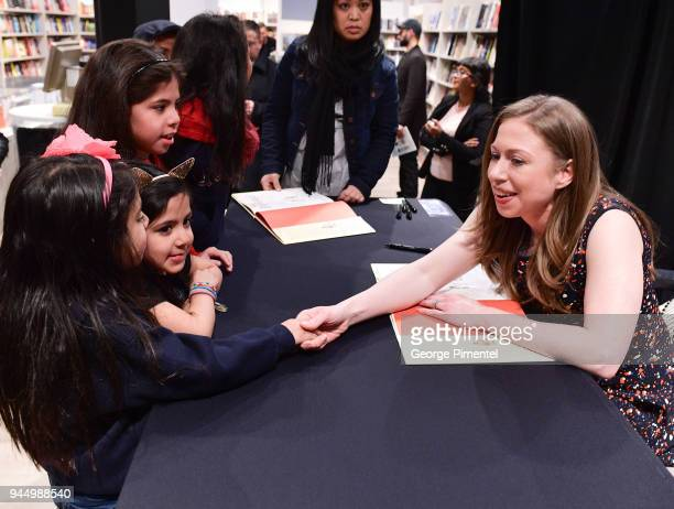 Chelsea Clinton signs copies of her new book 'She Persisted Around the World: 13 Women Who Changed History' at Indigo Sherway on April 11, 2018 in...