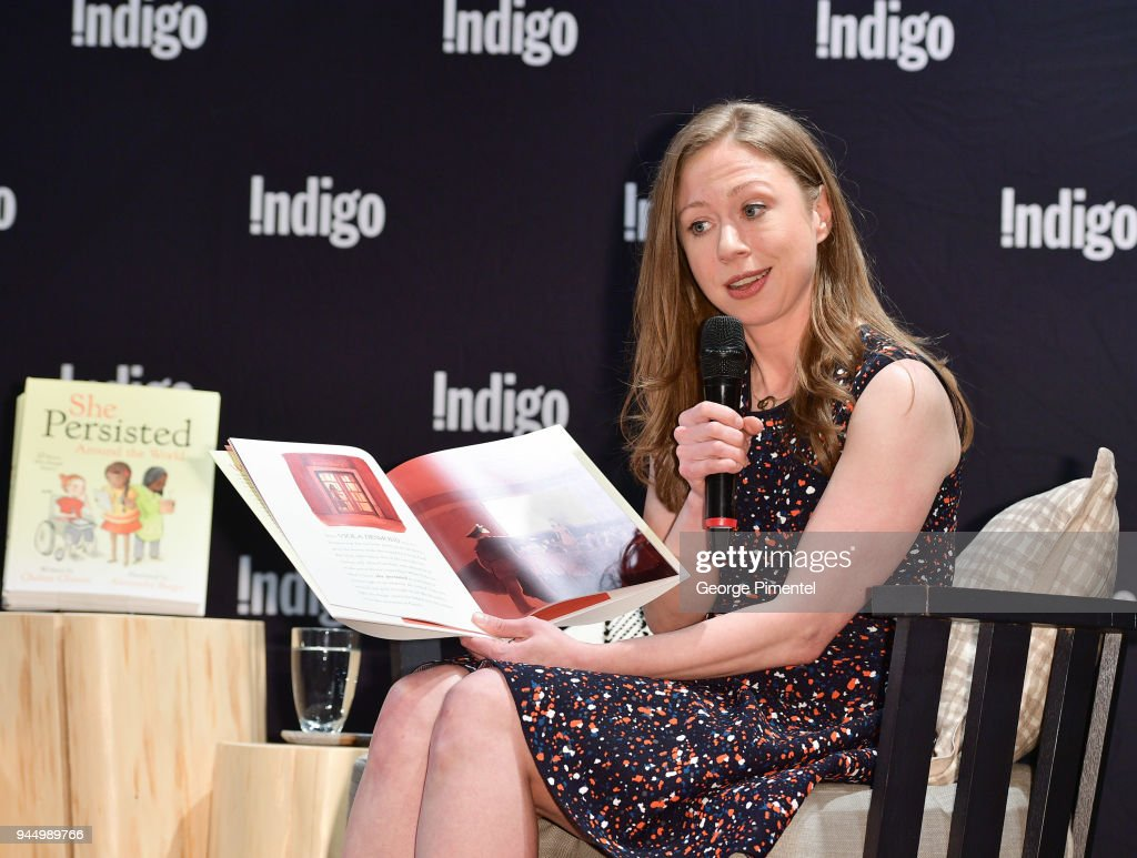 Chelsea Clinton signs copies of her new book 'She Persisted Around the World: 13 Women Who Changed History' at Indigo Sherway on April 11, 2018 in Toronto, Canada.