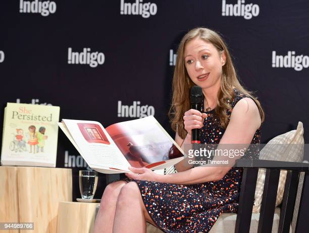 Chelsea Clinton signs copies of her new book 'She Persisted Around the World 13 Women Who Changed History' at Indigo Sherway on April 11 2018 in...