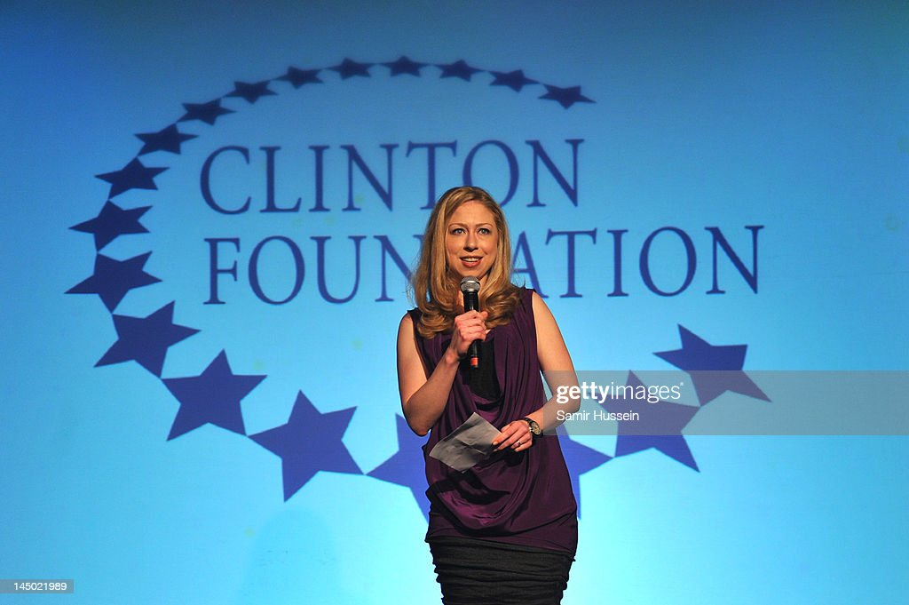 Chelsea Clinton speaks at 'A Night Out With The Millennium Network,' at the Old Vic Tunnels, presented by The Clinton Foundations and The Reuben Foundation. The evening, hosted by Bill Clinton, Chelsea Clinton, Gwyneth Paltrow and Will i Am took place on the 22nd May 2012 in London, England.