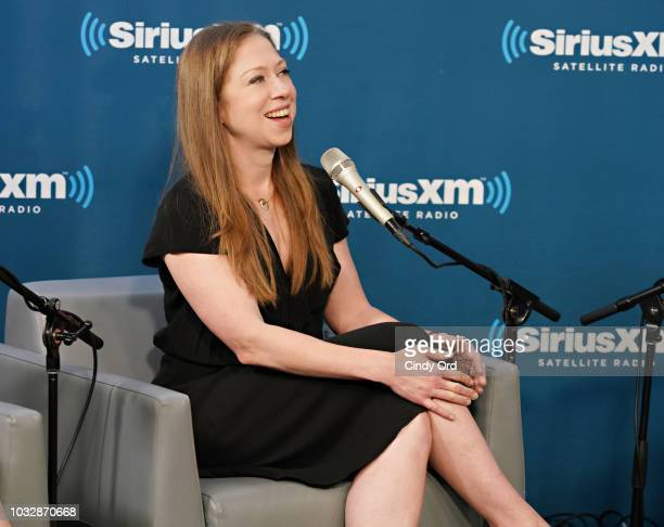 Chelsea Clinton speaks at SiriusXM with Nancy Northup hosts Zerlina Maxwell and Jess McIntosh at the SiriusXM Studio on September 13 2018 in New York...