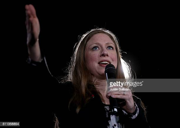 Chelsea Clinton speaks during a 'Get Out The Caucus' event for her mother Democratic presidential candidate former Secretary of State Hillary Clinton...