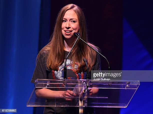 Chelsea Clinton speaks during the Hillary Victory Fund Stronger Together concert at St James Theatre on October 17 2016 in New York City Broadway...