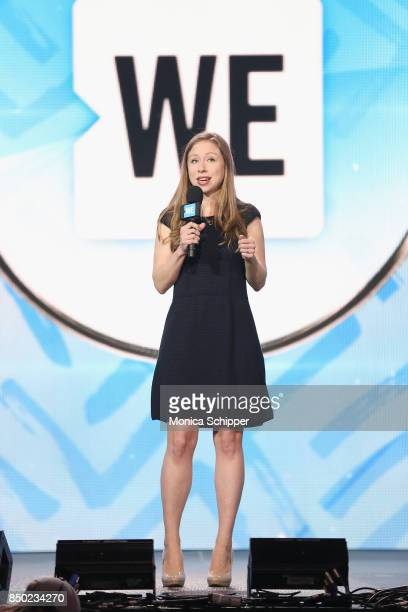 Chelsea Clinton speaks on stage at the WE Day UN at The Theater at Madison Square Garden on September 20 2017 in New York City