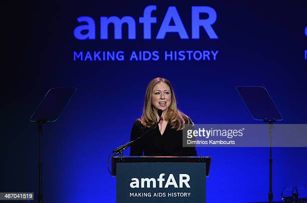 Chelsea Clinton speaks onstage during the 2014 amfAR New York Gala at Cipriani Wall Street on February 5, 2014 in New York City.