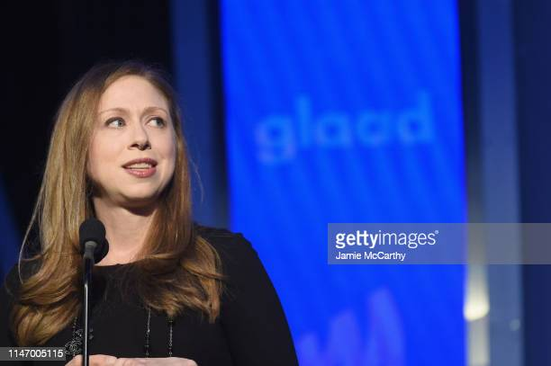 Chelsea Clinton speaks onstage during the 30th Annual GLAAD Media Awards New York at New York Hilton Midtown on May 4 2019 in New York City