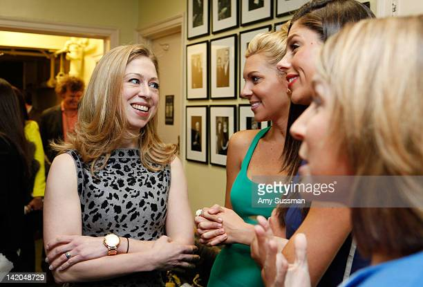 Chelsea Clinton talks to Mary Anne Huntsman and Abby Huntsman Livingston at Women In Politics Panel With Chelsea Clinton hosted by Glamour magazine...