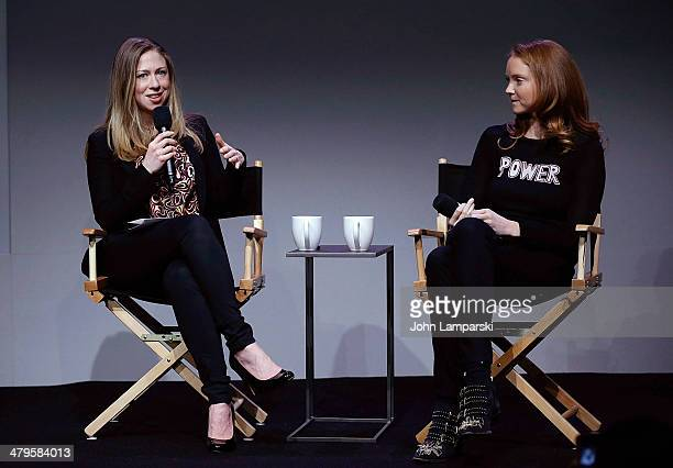 Chelsea Clintona and Lily Cole attend Meet the Developer Lily Cole Interview by Chelsea Clinton at Apple Store Soho on March 19 2014 in New York City