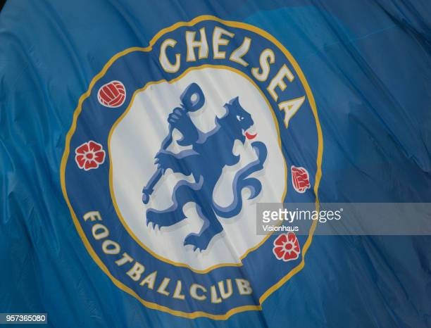 Chelsea club crest on flag before the Premier League match between Chelsea and Huddersfield at Stamford Bridge on May 9 2018 in London England