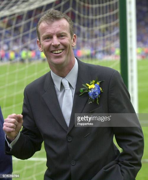 Chelsea coach Graham Rix celebrates at the end of the AXA FA Cup Final between Aston Villa and Chelsea at Wembley Stadium on May 20 2000 Chelsea won...