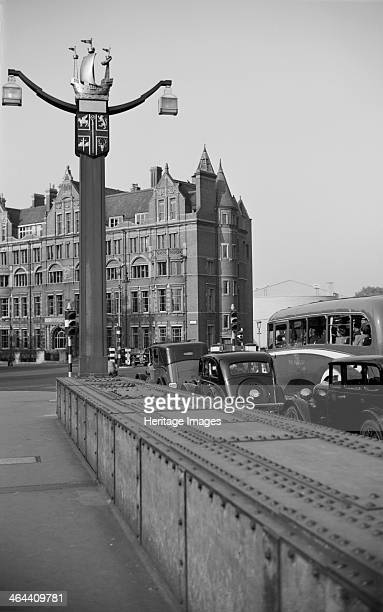 Chelsea coat of arms on a lamppost London c1945c1955 The north end of Chelsea Bridge showing the coat of arms of the Borough of Chelsea surmounted by...