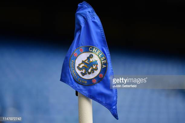 Chelsea corner flag is seen prior to the Premier League match between Chelsea FC and Watford FC at Stamford Bridge on May 05 2019 in London United...