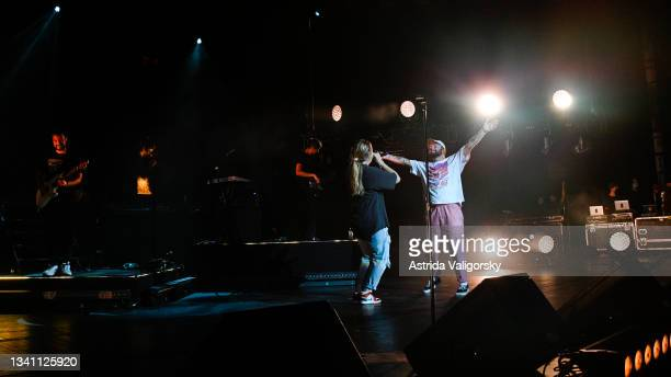 Chelsea Cutler performs with Quinn XCII during the final set of the 'Stay Next to Me' tour at Radio City Music Hall on September 17, 2021 in New York...