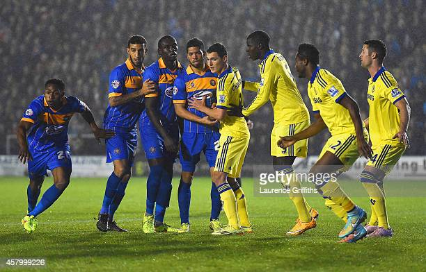Chelsea defend a Shewsbury Town corner during the Capital One Cup Fourth Round match between Shrewsbury Town and Chelsea at Greenhous Meadow on...
