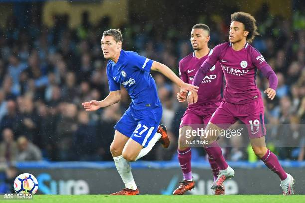 Chelsea Defender Andreas Christensen breaks away from Manchester City midfielder Leroy Sane during the Premier League match between Chelsea and...