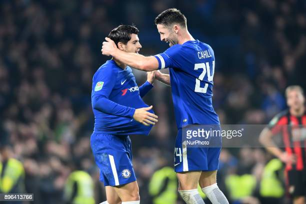 Chelsea Defender Gary Cahill and Alvaro Morata celebrate the late goal to win during the Carabao Cup Quarter Final match between Chelsea and AFC...