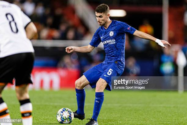 Chelsea Defender Jorginho Filho passes the ball during the UEFA Champions League group H match between Valencia CF and Chelsea FC at Estadio Mestalla...