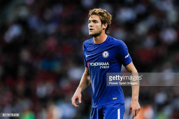 Chelsea Defender Marcos Alonso in action during the International Champions Cup match between Chelsea FC and FC Bayern Munich at National Stadium on...