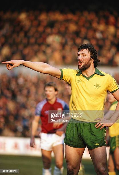 Chelsea defender Micky Droy in action during a First Division match between West Ham United and Chelsea at Upton Park on February 14 1981 in London...