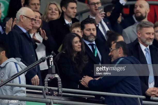 Chelsea Director Marina Granovskaia shakes hands with Maurizio Sarri manager of Chelsea as Chairman Bruce Buck looks on during the Carabao Cup Final...