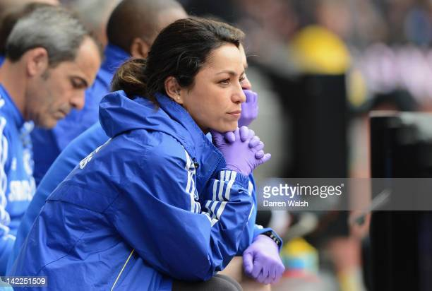 Chelsea Doctor Eva Carneiro looks on during the Barclays Premier League match between Aston Villa and Chelsea at Villa Park on March 31 2012 in...