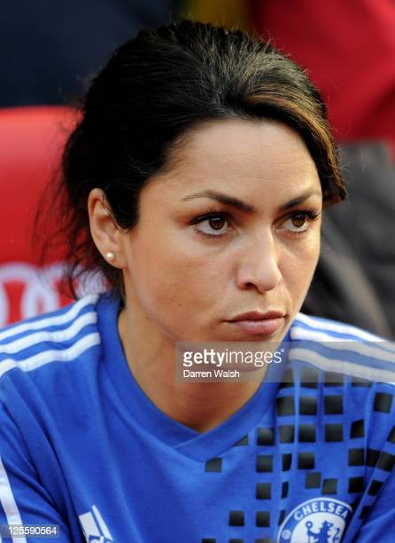 Chelsea Doctor Eva Carneiro looks on prior to the Barclays Premier League match between Manchester United and Chelsea at Old Trafford on September 18...