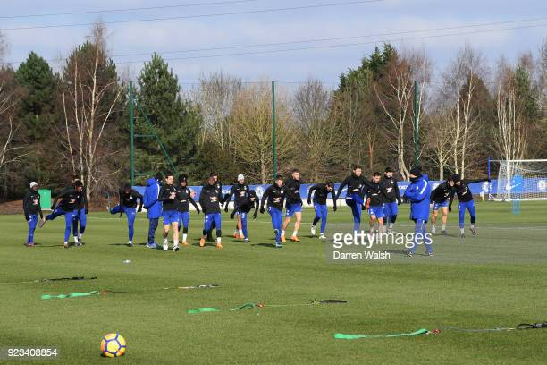 Chelsea during a training session at Chelsea Training Ground on February 23 2018 in Cobham United Kingdom