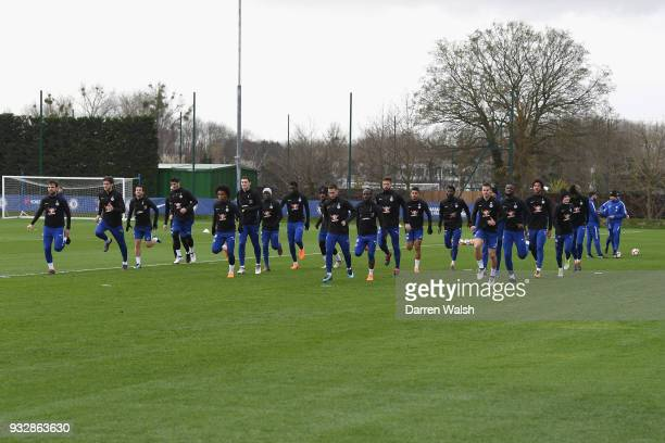 Chelsea during a training session at Chelsea Training Ground on March 16 2018 in Cobham United Kingdom