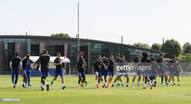 Chelsea during a training session at Chelsea Training Ground on May 18 2018 in Cobham England