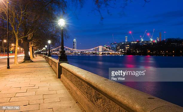 chelsea embankment at night - battersea stock pictures, royalty-free photos & images