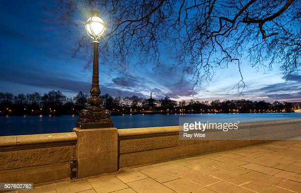 chelsea embankment at night - battersea park stock photos and pictures