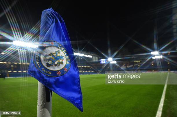 A Chelsea emblem is pictured on a corner flag as preparations are completed ahead of the English League Cup semifinal secondleg football match...