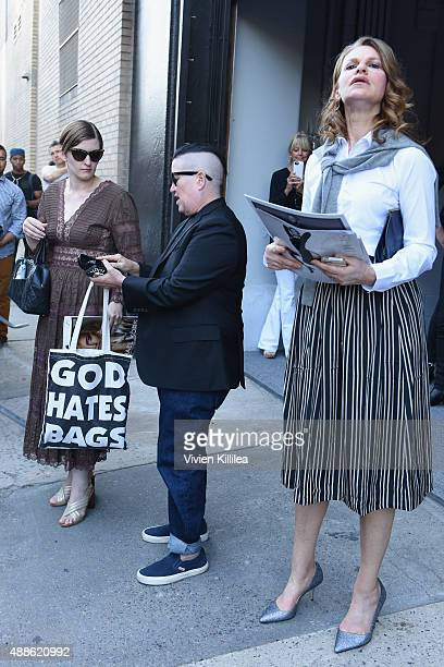 Chelsea Fairless Lea DeLaria and Sandra Bernhard are seen leaving the JCrew Presentation during New York Fashion Week The Shows at Skylight Clarkson...