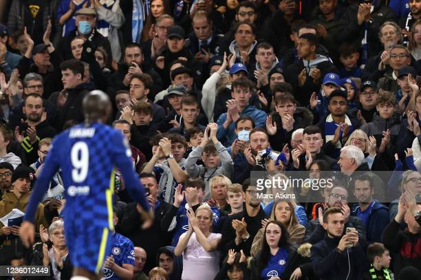 Chelsea fan applaud as Romelu Lukaku leaves the game through injury during the UEFA Champions League group H match between Chelsea FC and Malmo FF at...