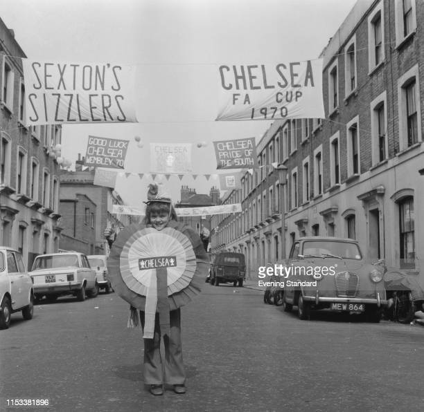 Chelsea fan Caroline Hawley wearing a costume in support of Chelsea FC ahead of the FA Cup Final London UK 10th April 1970