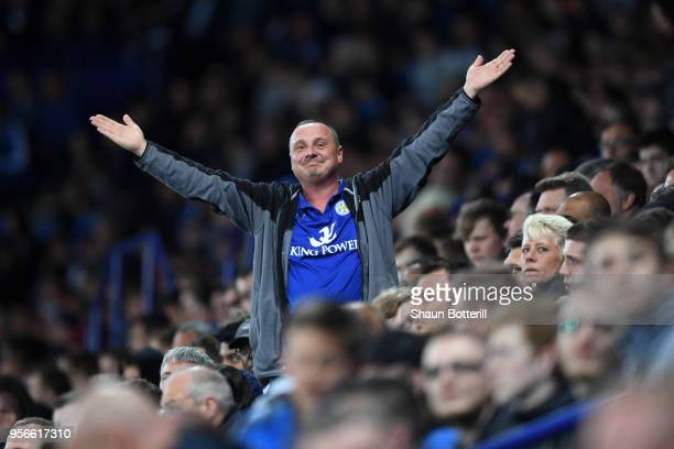 Chelsea fan enjoys the atmosphere during the Premier League match between Leicester City and Arsenal at The King Power Stadium on May 9 2018 in...