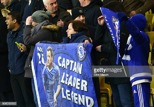 Chelsea fan holds up a banner in support of John Terry of Chelsea during the Barclays Premier League match between Watford and Chelsea at Vicarage...
