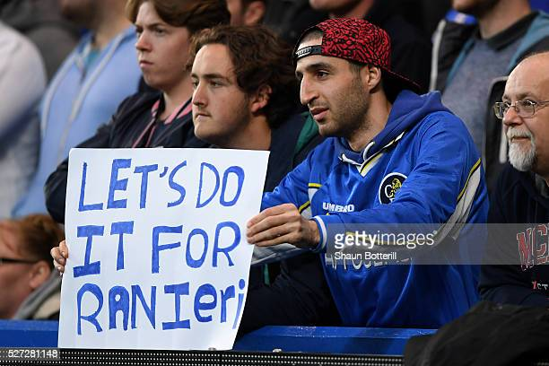 Chelsea fan holds up a banner in support of Leicester City's title challenge during the Barclays Premier League match between Chelsea and Tottenham...