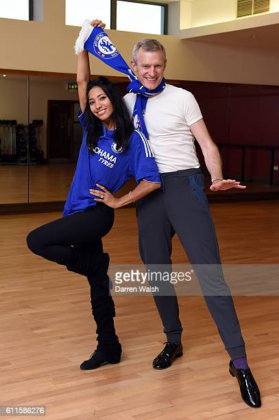 Chelsea fan Jeremy Vine with dance partner Karen Clifton during a Chelsea magazine feature at the Virgin Active on 30th September 2015 in Chiswick...