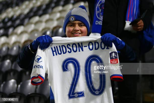 Chelsea fan leaves with Callum HudsonOdoi's jersey after the FA Cup Fourth Round match between Hull City and Chelsea at KCOM Stadium on January 25...